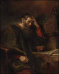 Rembrandt pictures St. Paul praying and writing. Rembrandt (and Workshop?), detail of 'Apostle Paul' (1657), Oil on canvas, National Gallery of Art, Washington, DC, 40.9 x 51.6 in.