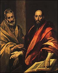 El Greco, 'Apostles Peter and Paul' (1592), oil on canvas, 121.5 x 105 cm, The Hermitage, St. Petersburg.