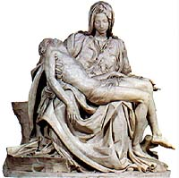 Jesus humbled himself to death, even death on a cross. This is the famous marble sculpture by Michelangelo, 'The Pieta'  (1498-99), 174 x 195 cm (5 3/4 x 6 ft), Basilica of St Peter, Vatican.