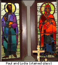 Paul and Lydia, stained glass in the Church of Lydia, Philippi