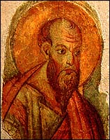 'Saint Paul,' Roma, 2nd half of 13th century (fresco fragments; 38 cm x 27 cm), Fabbrica of St. Peter's, Vatican Museum.