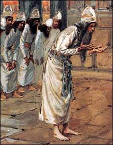 Under Ezra�s leadership, the priesthood is purified. James J. Tissot, detail of �The Priests� (1898-1902), Gouache on board, The Jewish Museum.