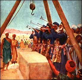Zerubbabel and Jeshua celebrate beginning the rebuilding of the temple. (Artist unknown)