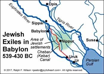 Location of Jews during Babylonian Exile.