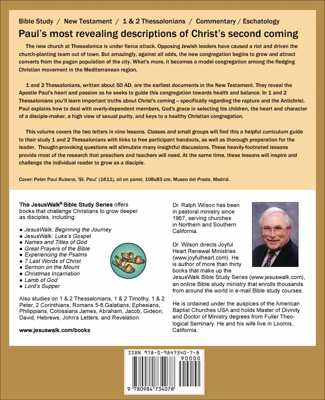 1 and 2 Thessalonians: Discipleship Lessons (back cover), by Dr. Ralph F. Wilson