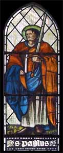 Edward Burne-Jones (1833-1898), 'St. Paul' (c. 1874), stained glass, manufactured by William Morris, Ponsonby Church, Cumbria, UK.