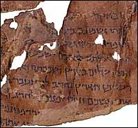 Portion of Leviticus in the Dead Sea Scrolls (MS 4611; ca. 30 BC - 68 AD). Ink on parchment.