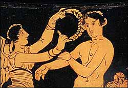 Greek athlete being crowned by Nike. Detail on red figure krater, unknown provenance.