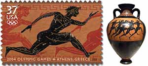 US 2004 postage stamp by Richard Sheaff and Lonnie Busch reminiscent of ancient Greek black-figure vases, such as a terracotta panathenaic amphora (ca. 530 BC)