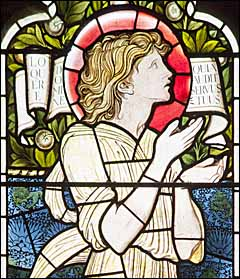 Edward Burne-Jones, detail of 'Samuel' (1873), Vyning Memorial Windows, Christ Cathedral, Oxford.