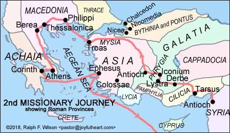 Map: Paul's Second Missionary Journey (AD 49-52 AD)